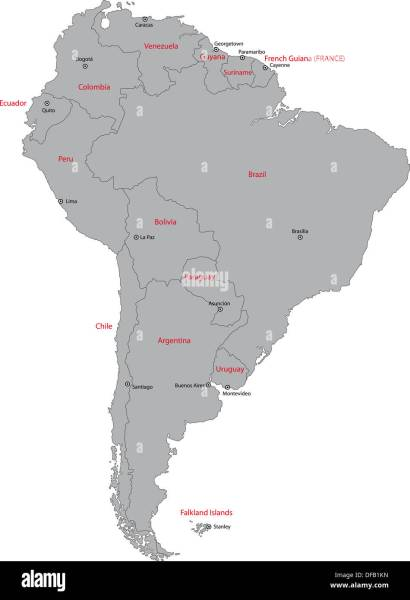 Grey South America map Stock Photo  61093753   Alamy Grey South America map