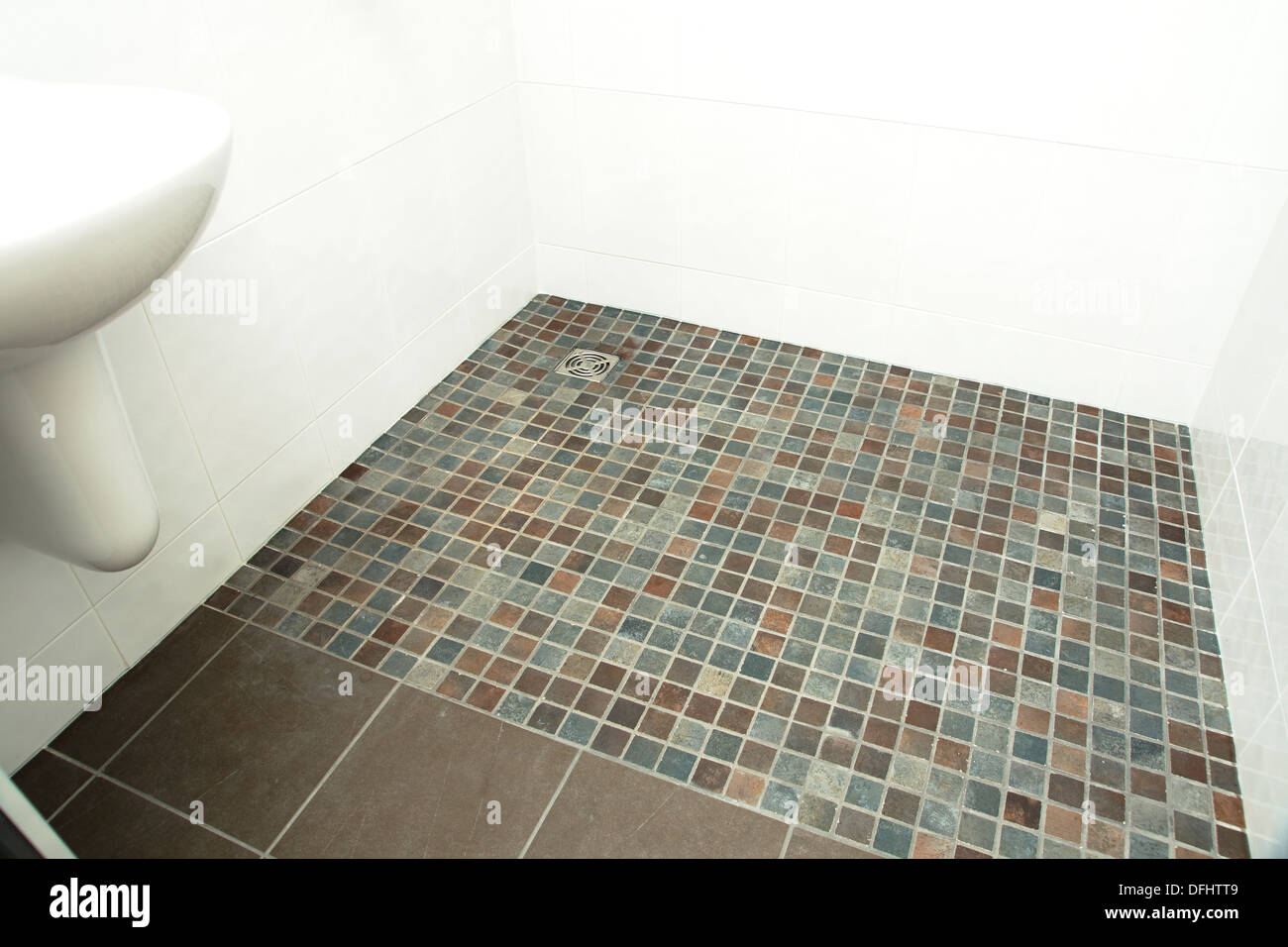 https www alamy com a specially adapted wet room shower bathroom with non slip tiles used image61243625 html