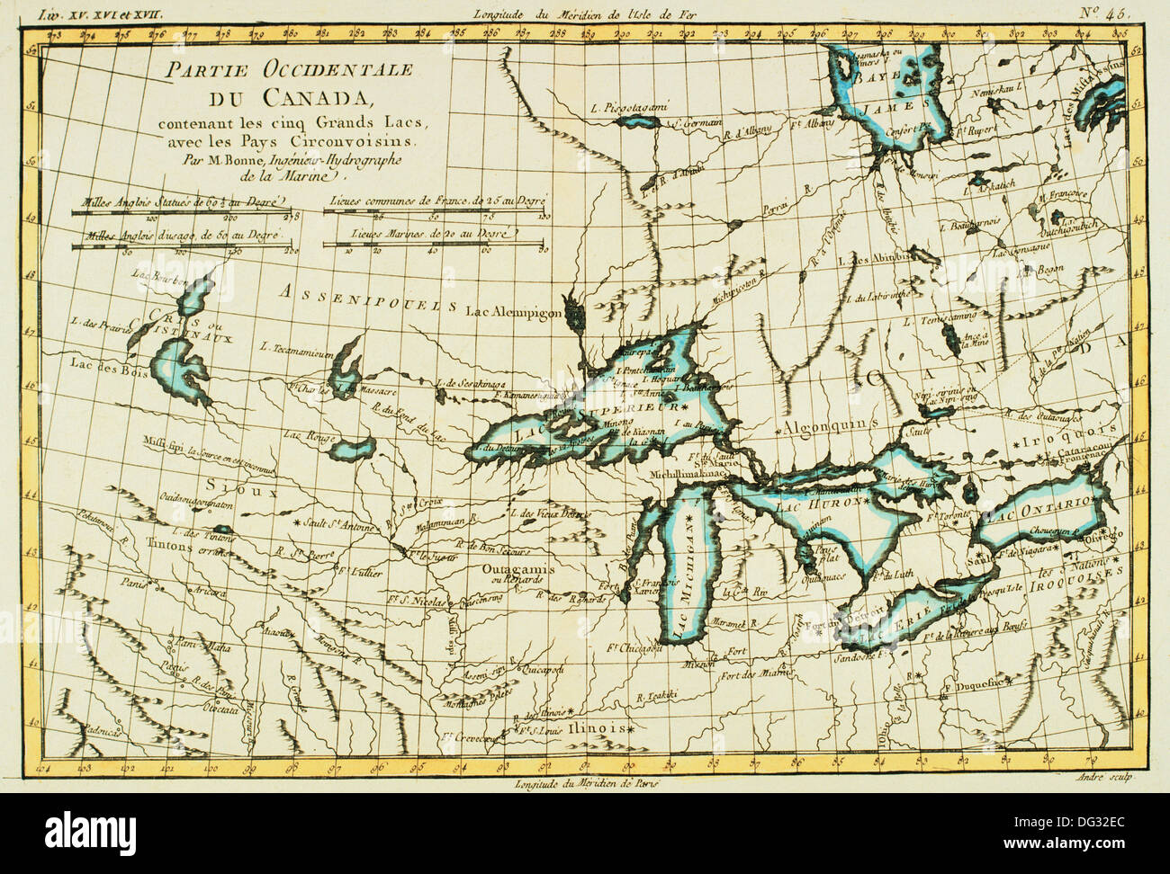 Canada Great Lakes 18th Century Map Stock Photo