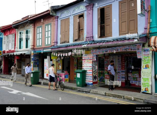 Shops along Serangoon Road in the Indian district, Little ...