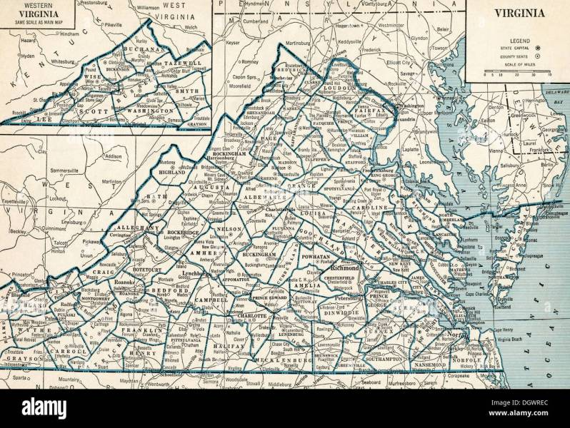 Old map of Virginia  1930 s Stock Photo  62032836   Alamy Old map of Virginia  1930 s