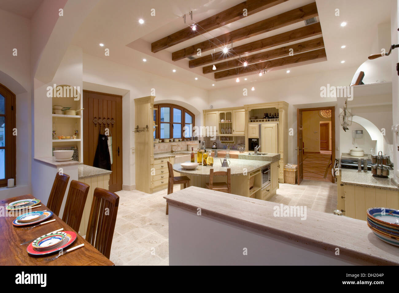 https www alamy com large kitchen dining room in modern spanish villa with lighting on image62124294 html