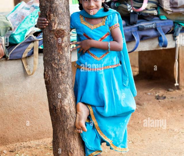 Rural Indian Village School Girl Standing By A Tree In An Outside Class Andhra Pradesh