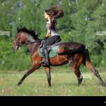 Cheerful Young Woman And Her Galloping Horse Stock Photo Alamy
