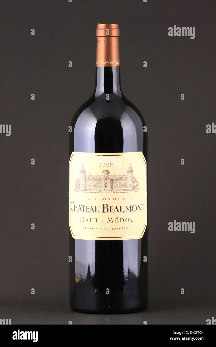 https www alamy com a bottle of red wine with name chateau beaumont haut medoc cru bourgeois image63679635 html