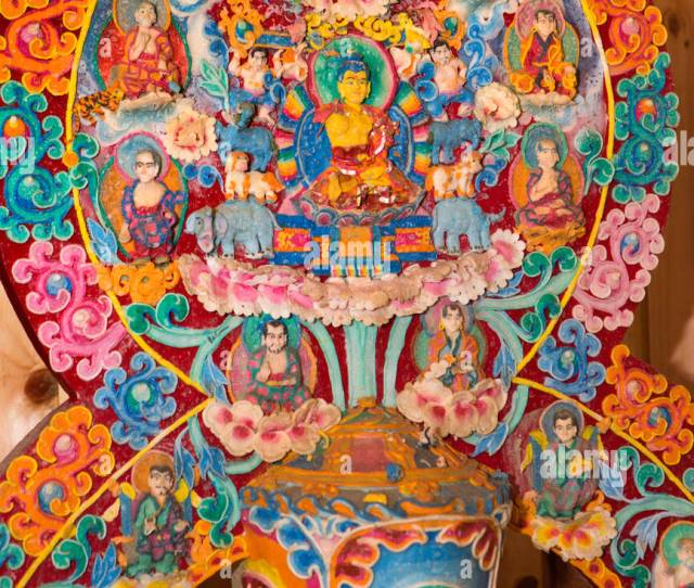 Bhutan Bumthang Valley Ornate Colourful Temple Altar Decoration Made From Butter Stock Image