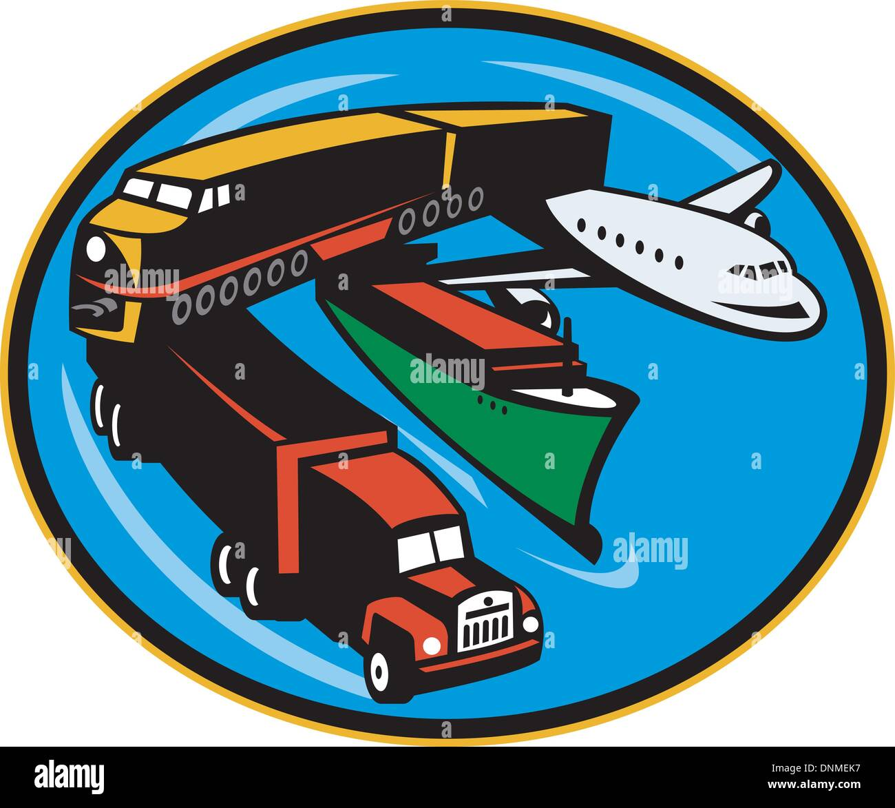 Illustration On Land Sea And Air Freight Transportation