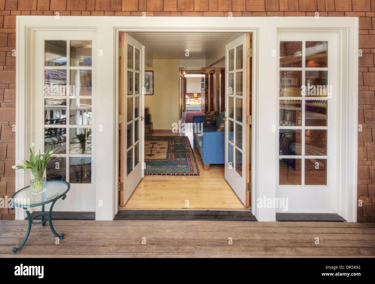 https www alamy com glass doors on wooden patio image65884478 html