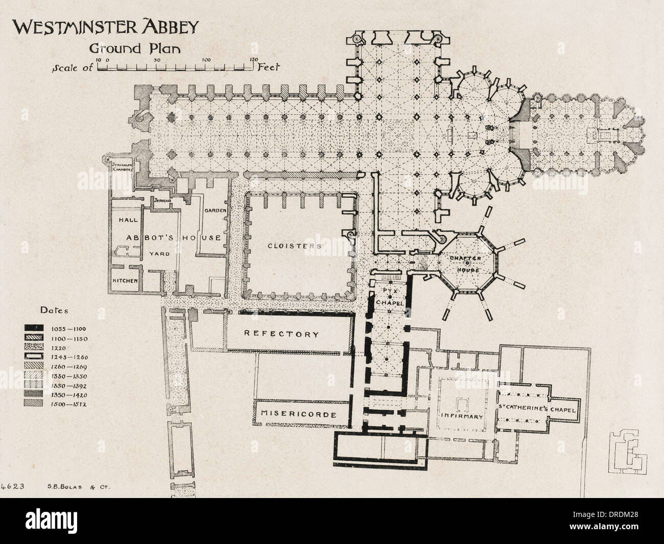Ground Plan Of Westminster Abbey Stock Photo, Royalty Free