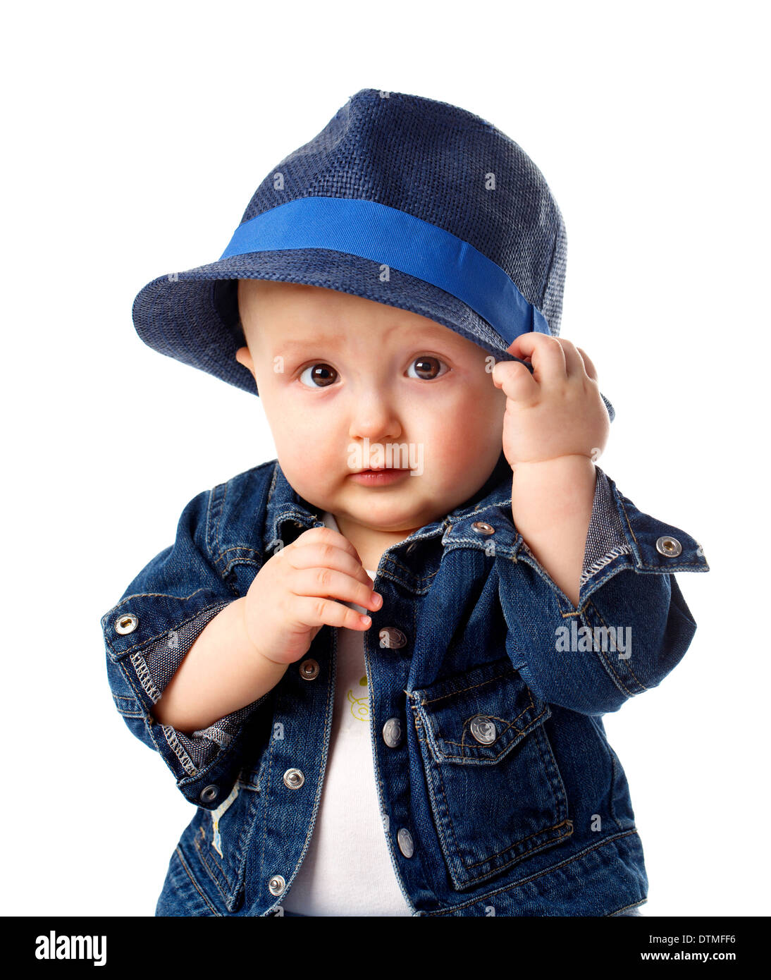 Cute Baby Boy Holding Hat Stock Photo Alamy