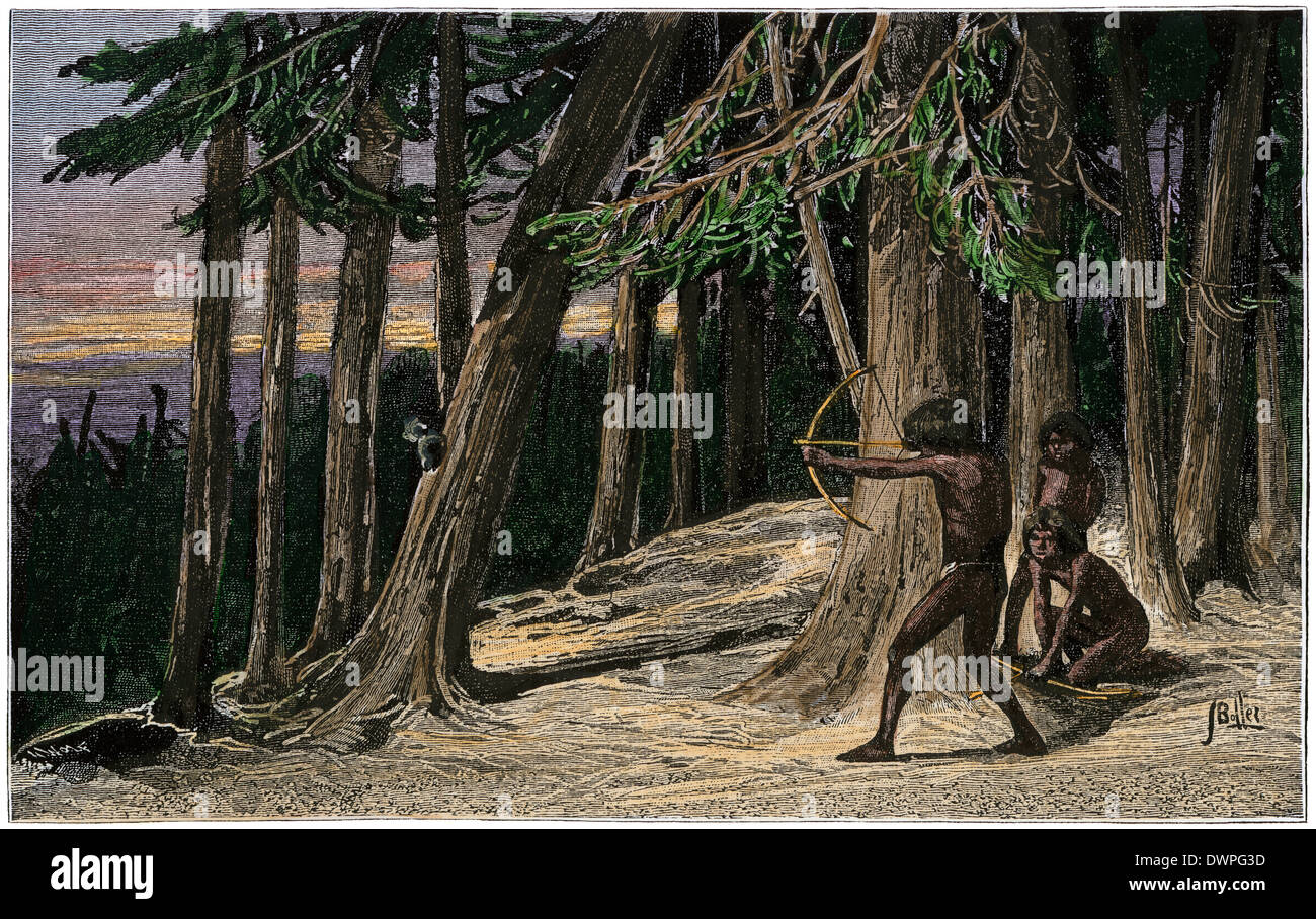 """""""when you are in doubt, be still, and wait; Native American Boy Practicing Archery In A Precolumbian Forest Hand Colored Woodcut Stock Photo Alamy"""