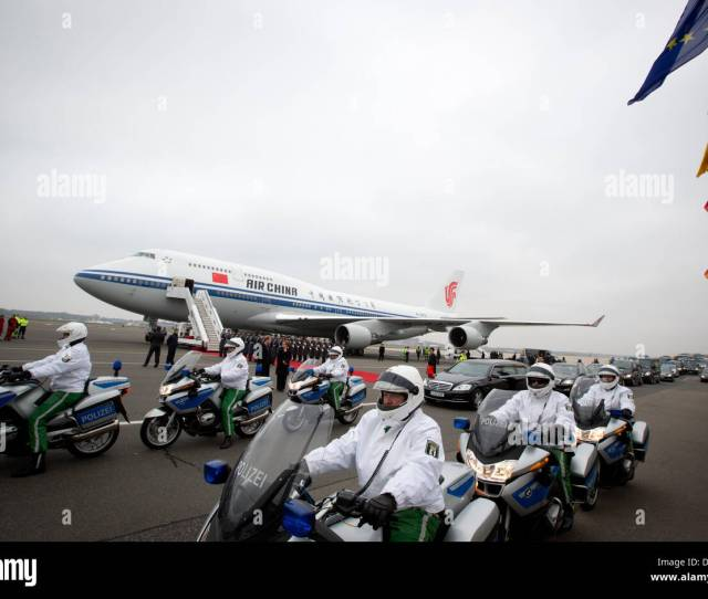 Berlin Germany Th Mar  A Motorcycle Escort And Limousine Await The Arrival Of Chinese President Xi Jinping For The State Visit To Germany At The