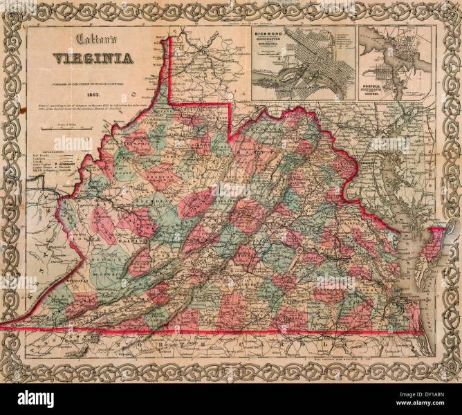 Colton s Map of Virginia 1862 Stock Photo  68256853   Alamy Colton s Map of Virginia 1862