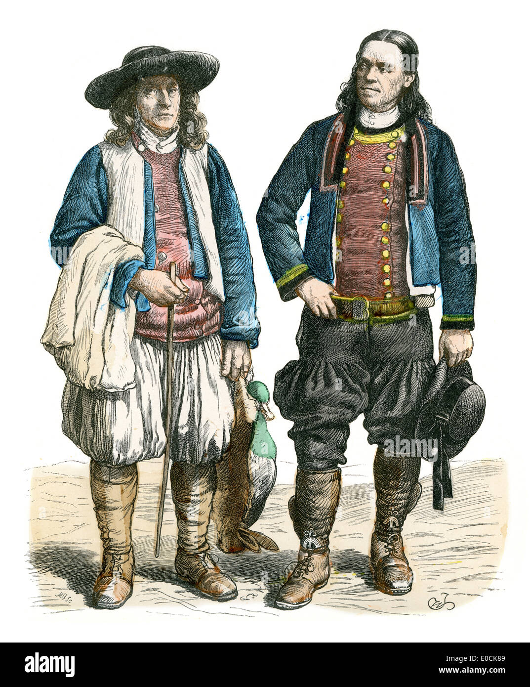 Traditional Costumes Of France Men Of Brittany 19th