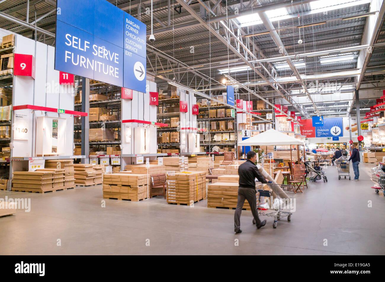 Warehouse Area Of Ikea Furniture Store England UK Stock