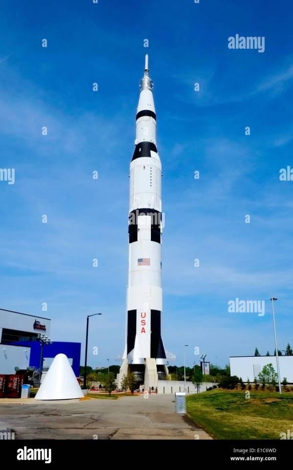 Saturn 5 Model US Space and Rocket Center Huntsville Alabama AL NASA Stock Photo