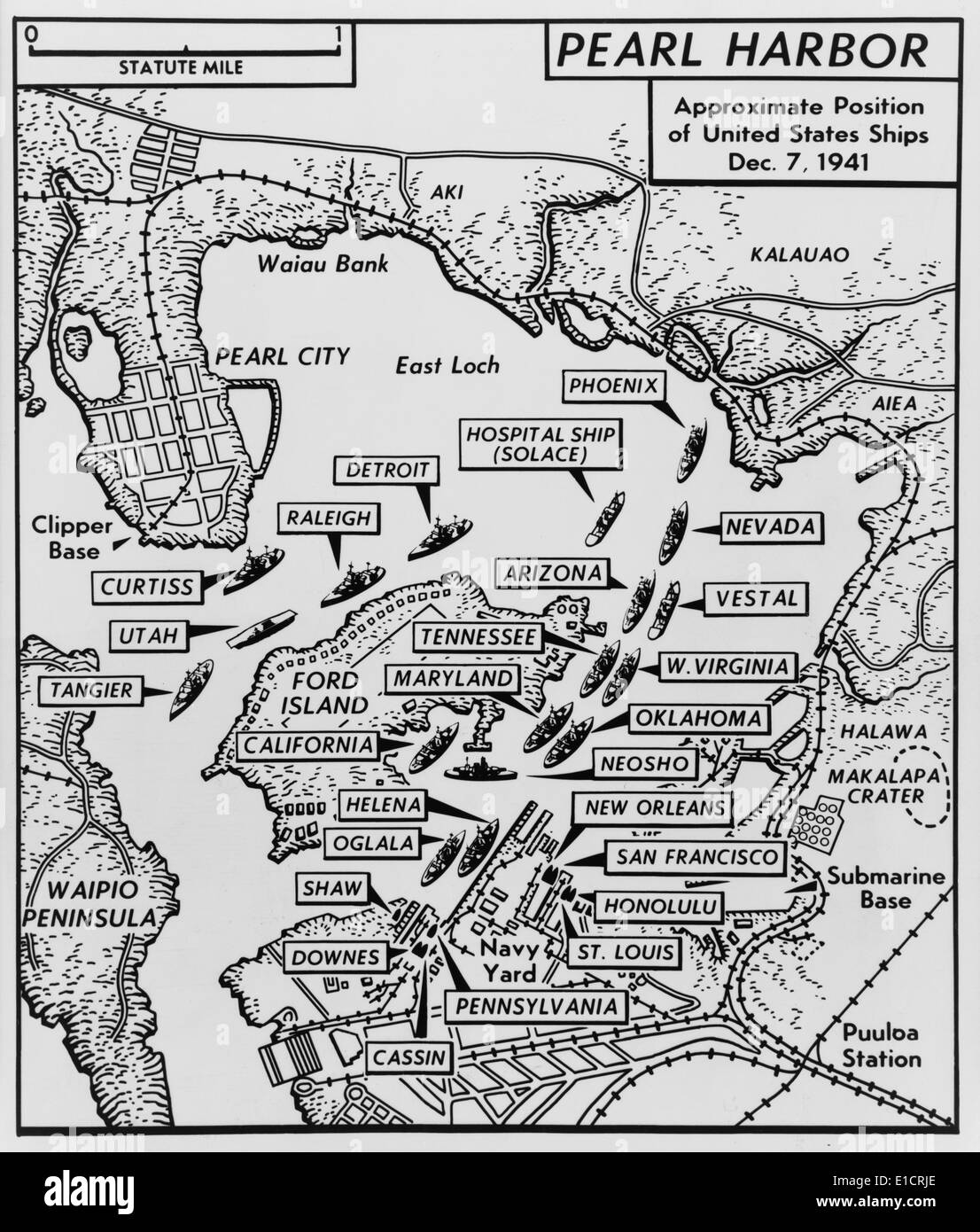 Map Of Pearl Harbor With Location Of Ships Just Prior To