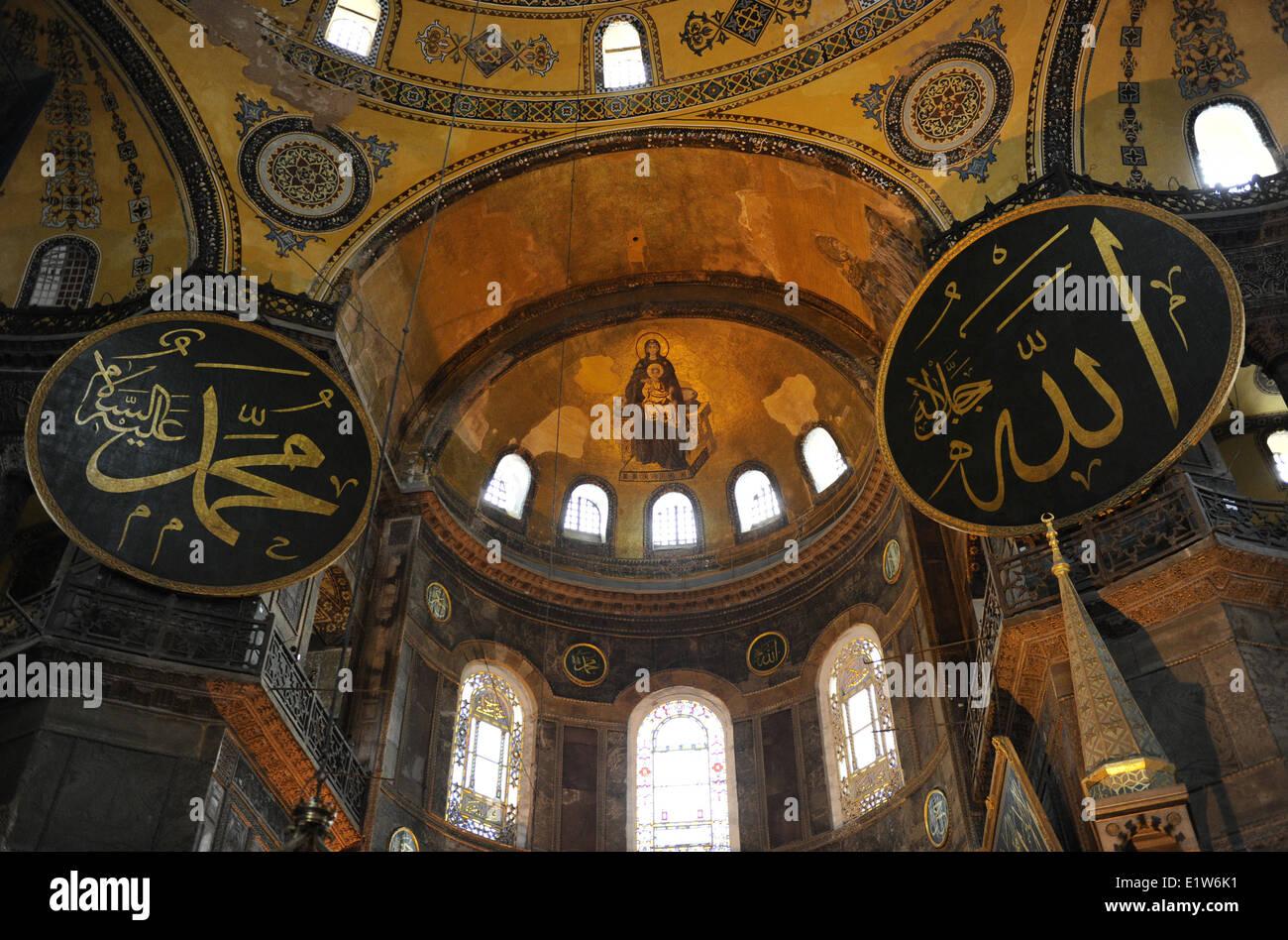 Turkey Istanbul Hagia Sophia Interior Apse Mosaic Of The Stock Photo Royalty Free Image