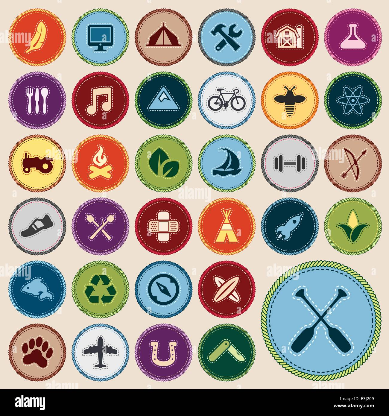 Set Of Scout Merit Badges For Outdoor And Academic