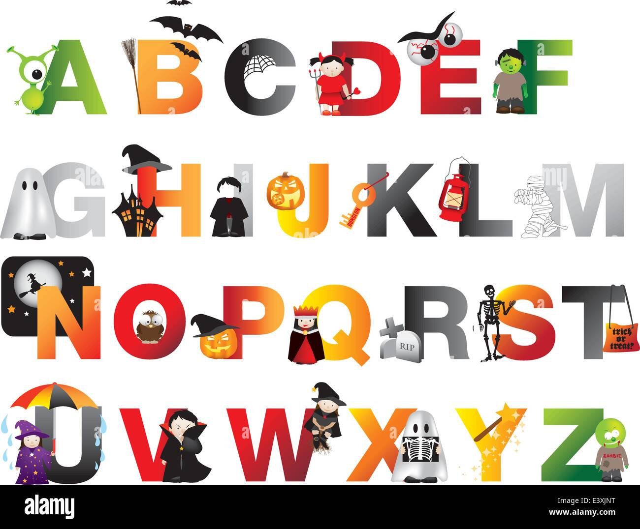 A To Z Of Spooky Horror Childrens Alphabet Stock Vector