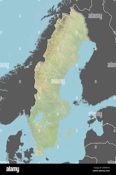 Map Satellite Geography Sweden Stock Photos   Map Satellite     Sweden  Relief Map with Border and Mask   Stock Image