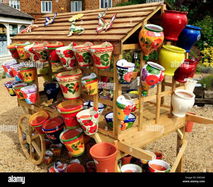 Decorative Pots Stock Photos   Decorative Pots Stock Images   Alamy Colourful  colorful  decorative  Pots  Planters  containers  Garden Nursery  sales England