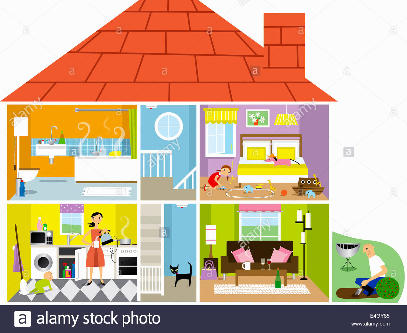 Cross Section Of Family House With Potential Hazards Stock