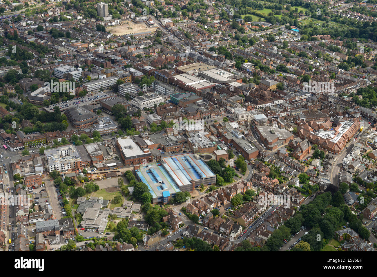 An Aerial View Showing The Town Centre Of St Albans In