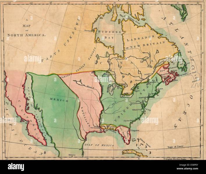 A map of North America   Outline of North America  in correspond to     A map of North America   Outline of North America  in correspond to the map   1803