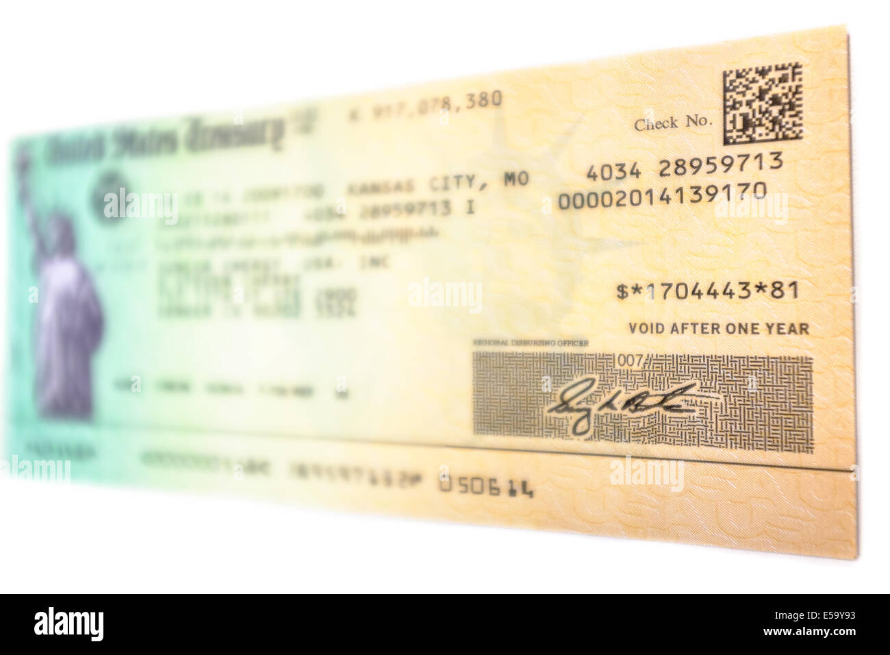 A Tax Refund Check In The Amount Of 1 704 443 81 Issued By The Stock Photo