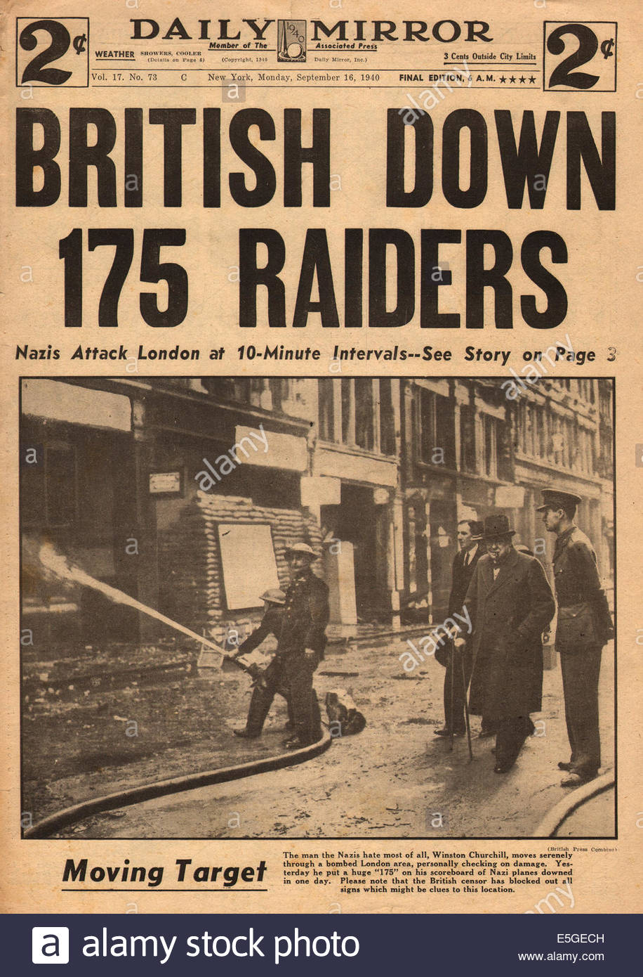 1940 Daily Mirror New York Front Page Reporting Battle