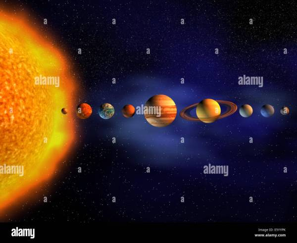 Diagram of planets in solar system - 3d render Stock Photo ...