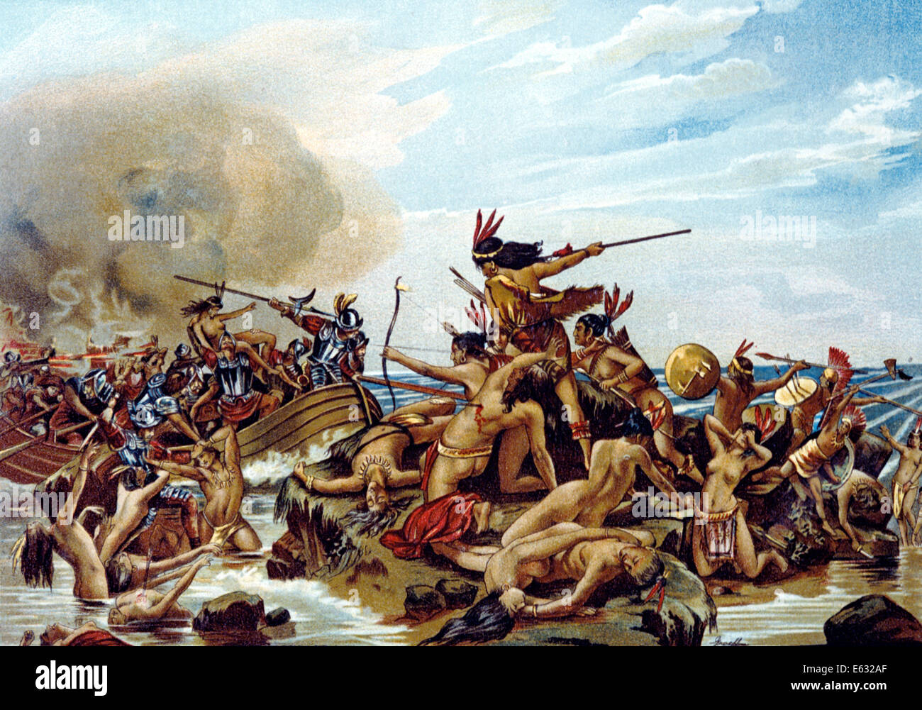 S Early Armored European Explorers Fighting With Native American Stock Photo