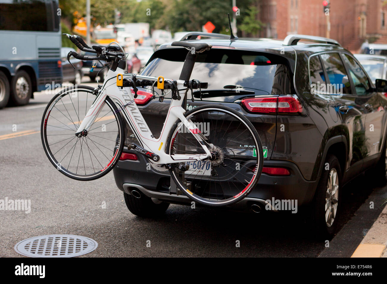 https www alamy com stock photo bicycle on rear mounted bike rack usa 73257610 html