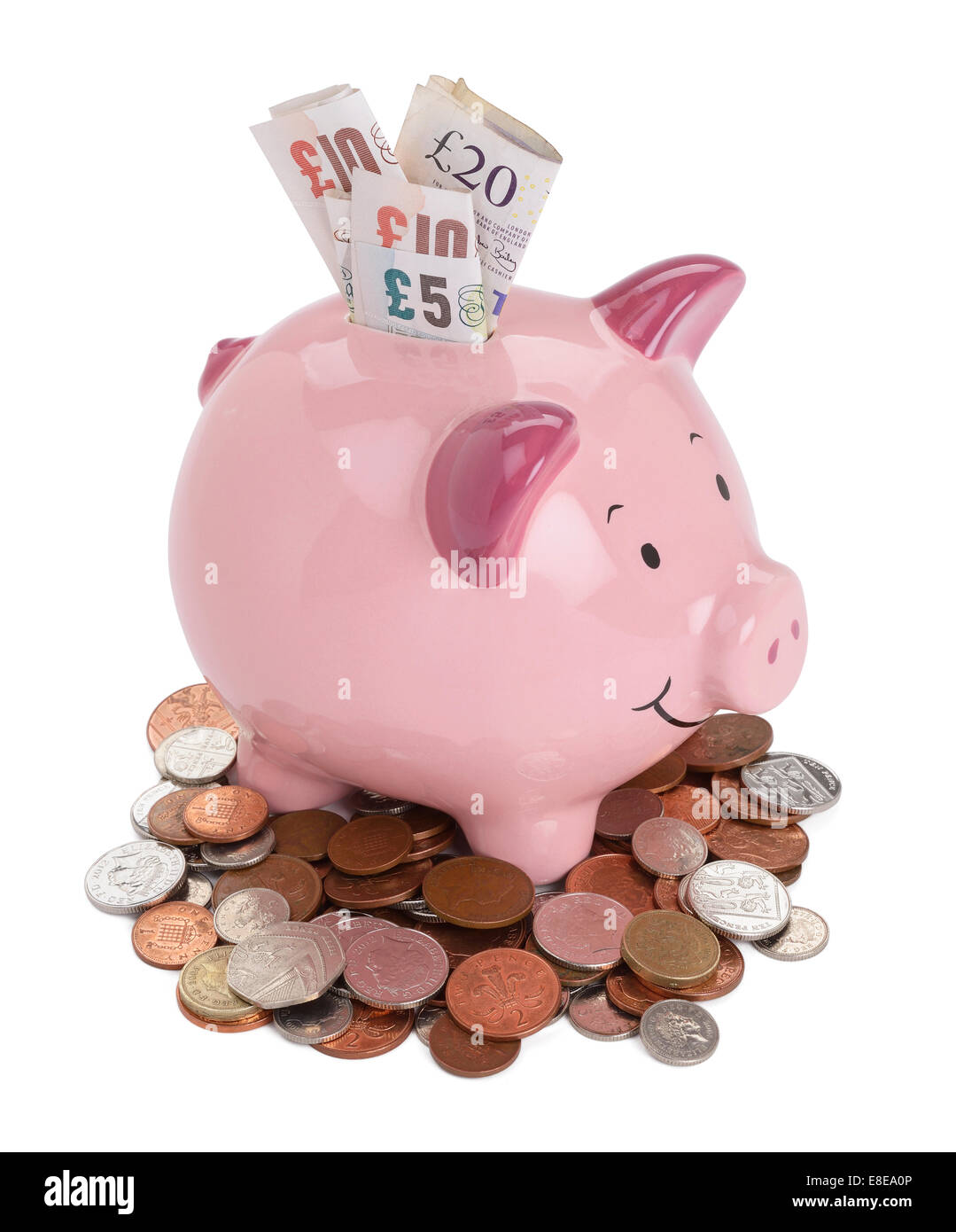 Pink Piggy Bank With Uk Sterling Coins And Notes Stock
