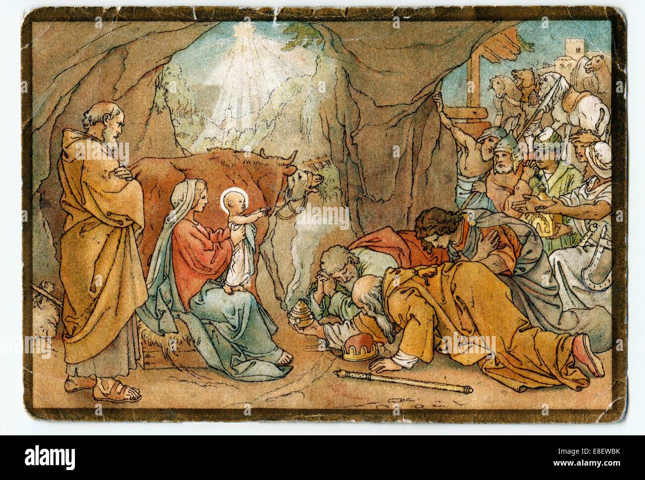 The Three Magi Kneeling Before The Baby Jesus Adoration