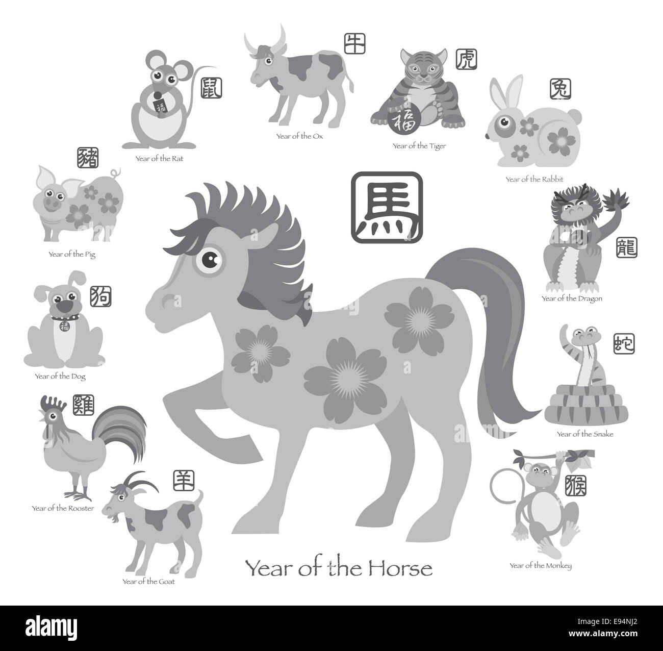 Chinese New Year Of The Horse With Twelve Zodiacs