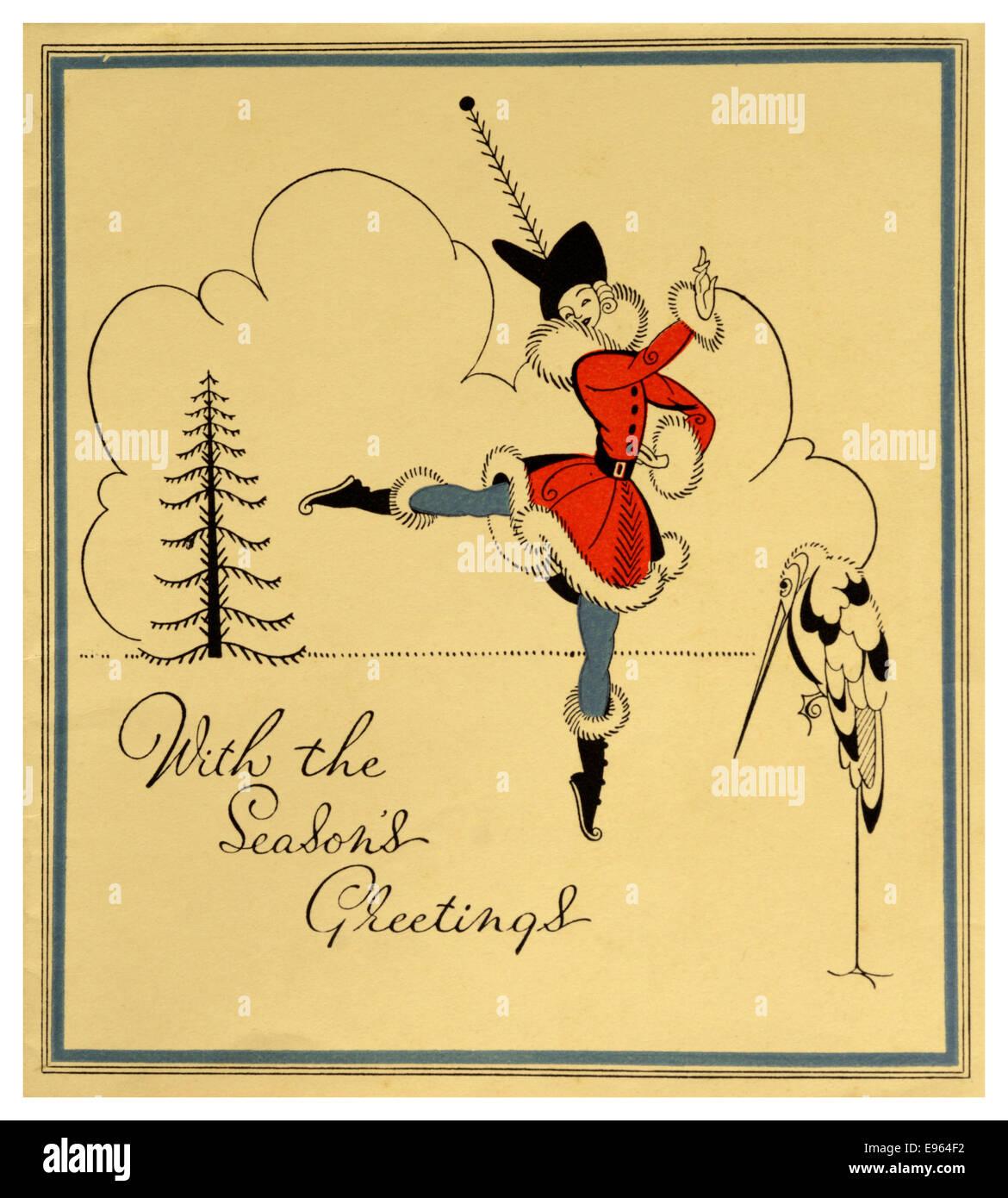 1930s Christmas Card Stock Photo Royalty Free Image