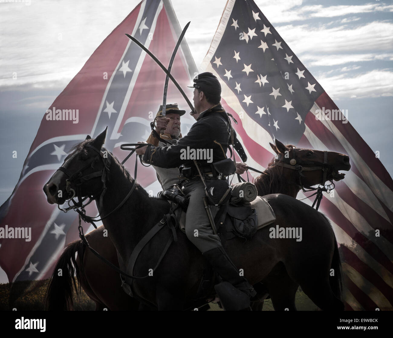 North And South Calvary Battle Us Civil War Recreation