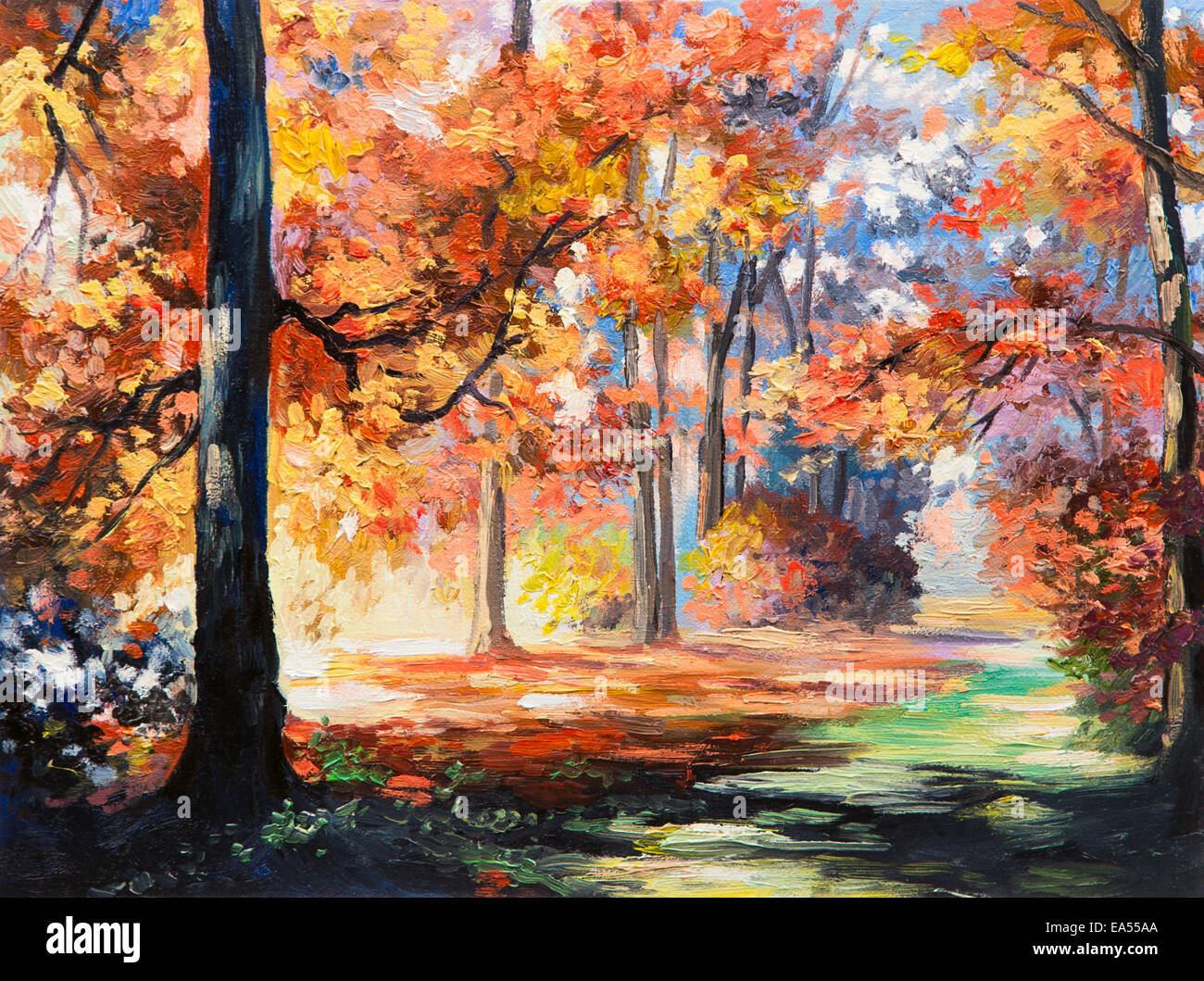 Leaf image brown wooden bridge in forest painting image nature,. Oil Painting Landscape Colorful Autumn Forest Trail In The Forest Stock Photo Alamy