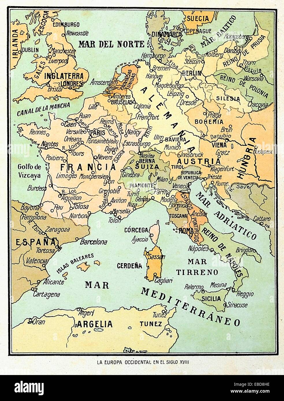 Map Of Western Europe In The 18th Century Stock Photo Alamy