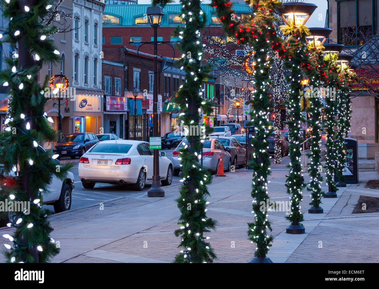 Main Street Decorated For The Christmas Season In Downtown