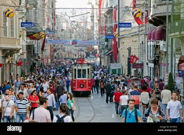 Historic tram in Istiklal Avenue busy shopping street