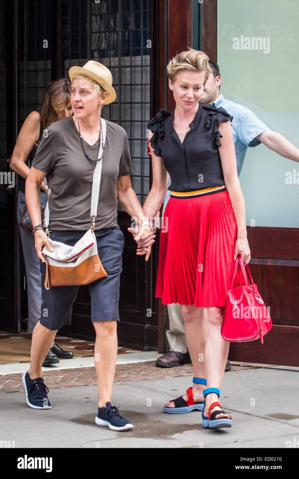 Ellen DeGeneres and her wife Portia de Rossi leaving a ...