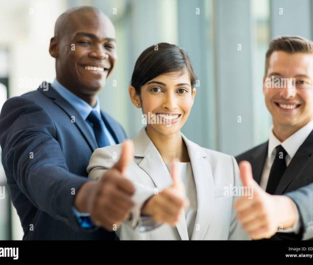 Happy Business Group Giving Thumbs Up