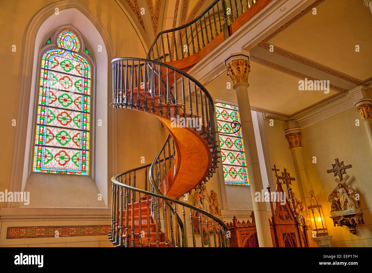 Spiral Staircase Loretto Chapel Santa Fe New Mexico Usa Stock | Spiral Staircase Loretto Chapel | St Joseph | Immaculate | Gothic | Dangerous | Medieval