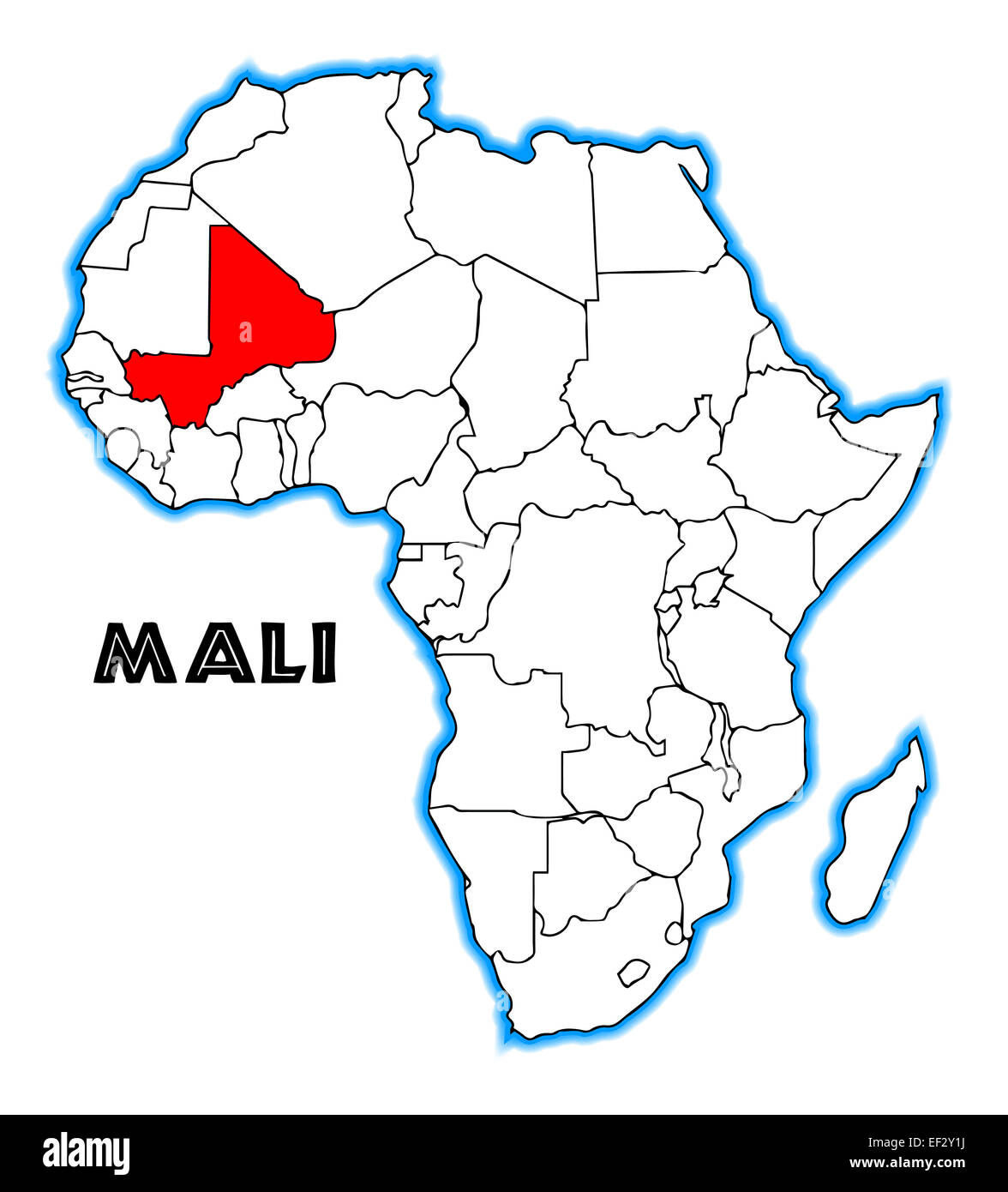 Mali Outline Inset Into A Map Of Africa Over A White