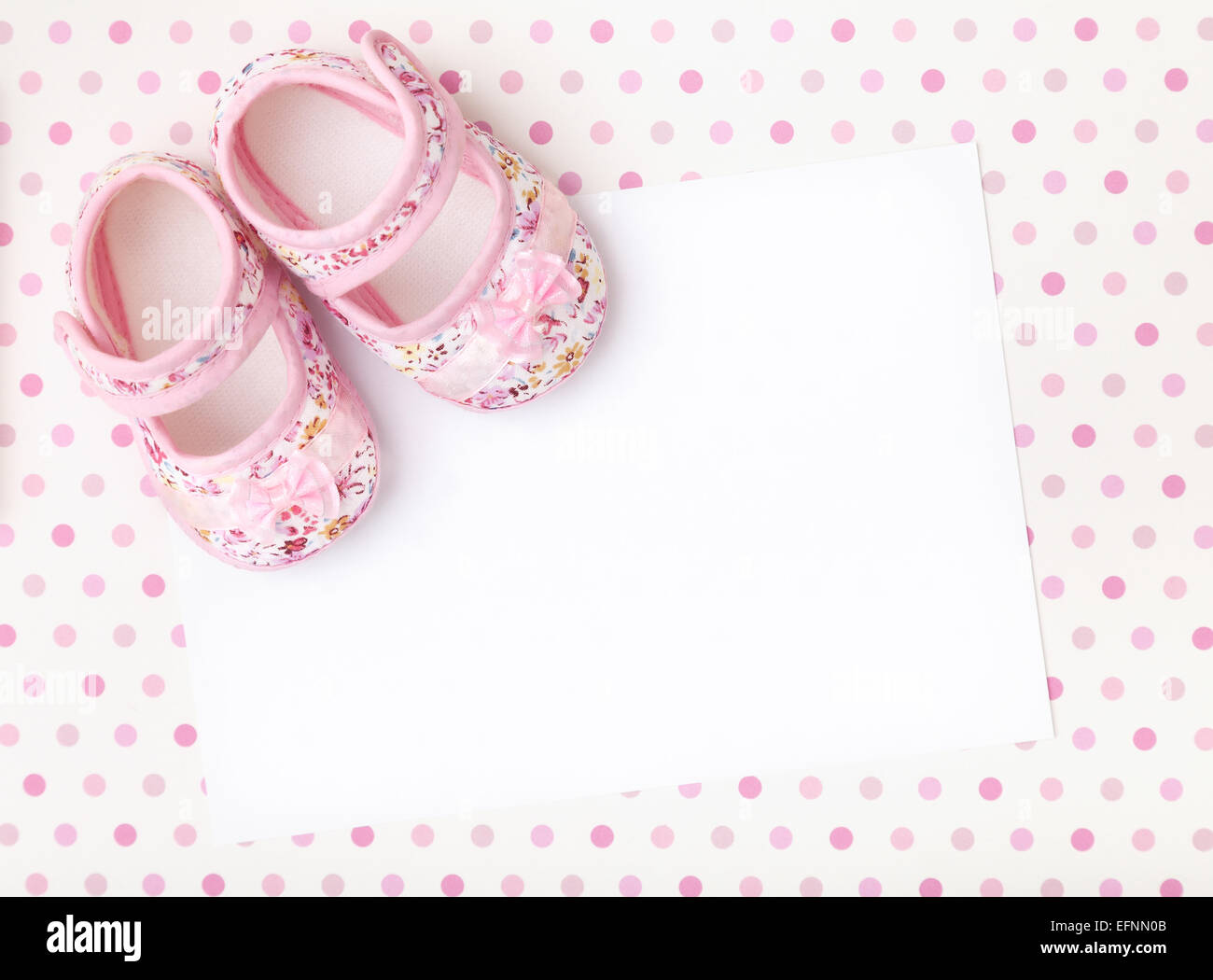 https www alamy com stock photo blank card with baby girl shoes on a pastel pink spotted background 78538779 html