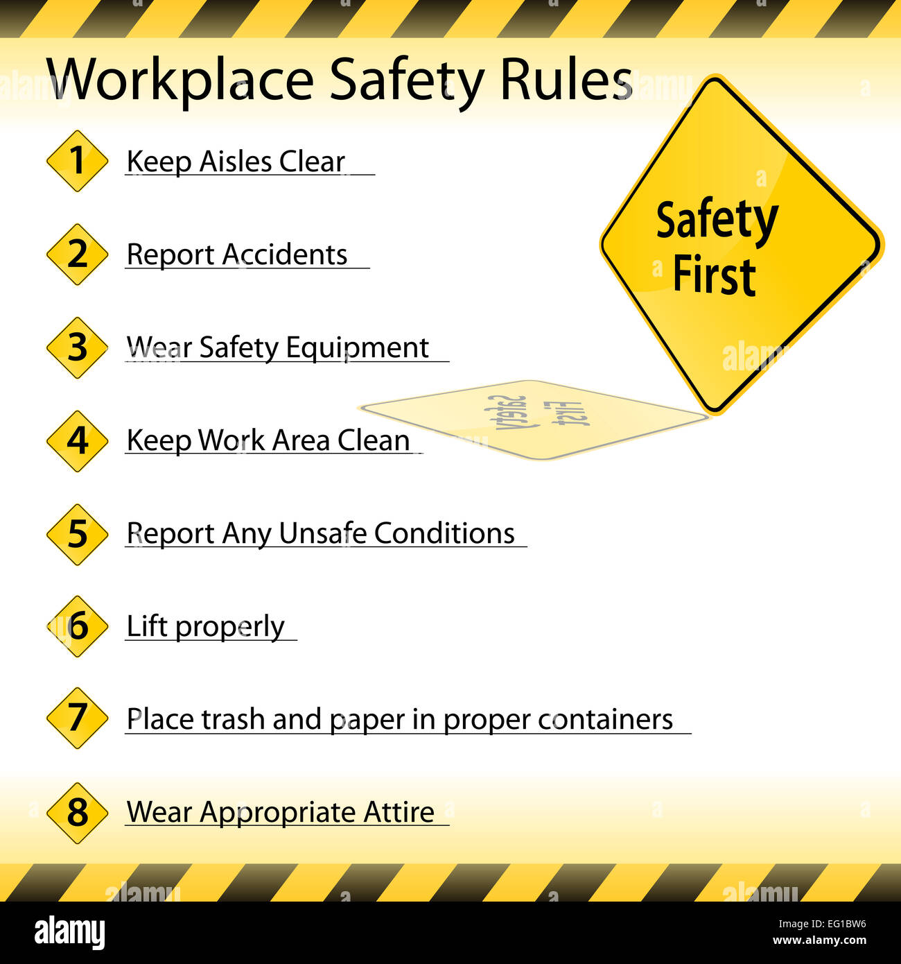 An Image Of A Workplace Safety Rules Chart Stock Photo