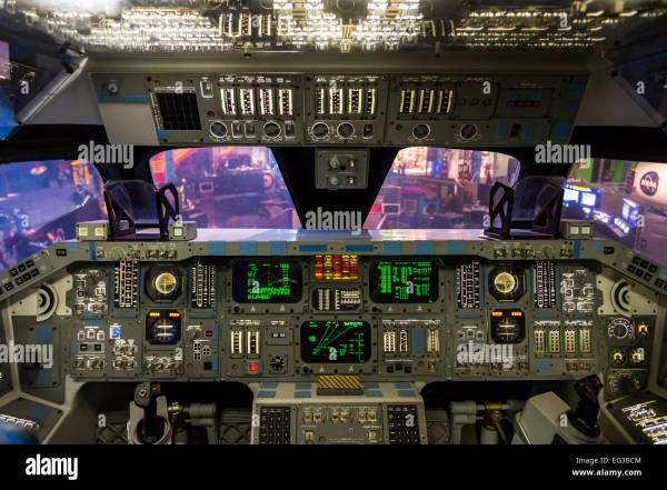 Instrument panel of the mock-up Space Shuttle flight deck ...